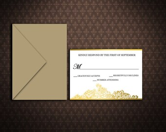 Wedding Response Card Template, Black and Gold Printable RSVP Card, Editable Word File, DIY You Print, Instant Download, S005-1