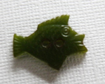 Bakelite Lime Green Fish Button Realistic