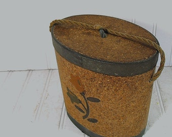 Fishing Equipment Box Oval Bait Canteen Vintage Cork, Waxed Canvas & Cardboard Carry All Free Shipping Repurpose Garden Floral Decorated Box
