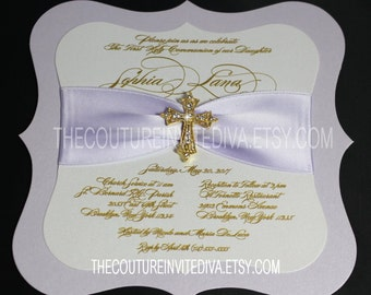First Holy Communion Invitation; Confirmation Invitation, Baptism Invitation, Christening Invitation, Communion Invitation, Cross Invitation