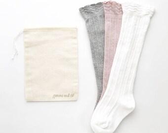 Ruffle baby knee high socks