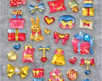 Assorted Mixed Adorable Big Puffy Golden Stickers