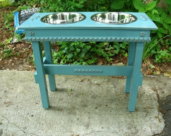 Elevated Dog Feeder 2 Three Quart Bowls, Cottage Chic, Raised, Turquoise, Copper Underlay, Large Dogs, Stainless Bowls Made to Order