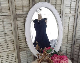 White Oval Mirror, Vanity Mirror, Bathroom Mirror, Shabby Chic Mirror,  Nursery Mirror