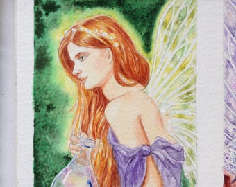 Fairy, Fairy potion, original watercolour, painting