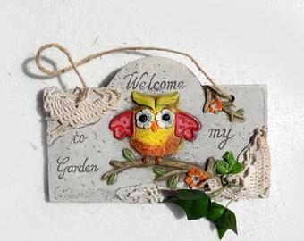 upcycled welcome to my garden sign  - owl garden decor - gift for gardeners garden sign - welcome sign -  designer garden sign -# 34