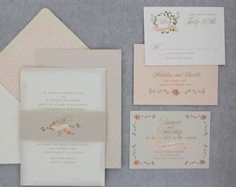 Watercolor Wedding Invitations Suite, Floral Wedding Invitation set with RSVP, Watercolour - Love Wreath Wedding Invitation   Sample Set