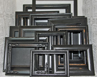 Painted Frame Your Choice Size & Style Black Hand Painted Distressed Frame Set Made To Order