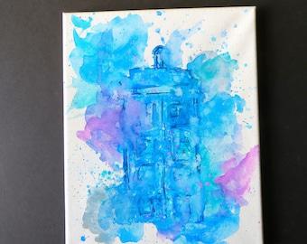 Doctor Who Tardis Paint Splatter canvas