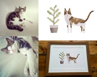 PET PORTRAIT, Custom Pet Portrait, Pet Illustration, Commission, Cat Portrait, Pet Gift, Pet Art, Dog Portrait, Pet Lover, Cat Lovers Gift