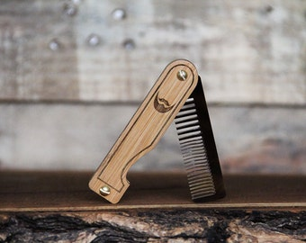 Personalized Beard Comb - Handmade Folding Wood Pocket Comb for Beard & Mustache Grooming with Bamboo Scales aand Tigerlily Marble Acrylic