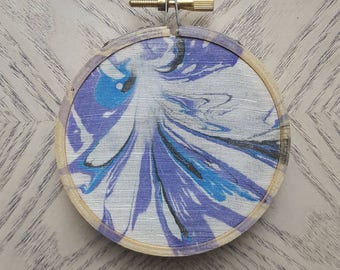 Mini hand-marbled embroidery hoop art