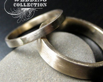 Recycled Hand Forged 14k Yellow Gold Ring Band Set Satin Finish Eco Friendly Metal