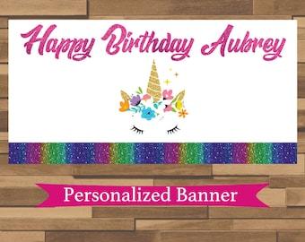"18""x30"" Rainbow Glitter Unicorn Personalized Birthday Party Banner | 1st Birthday | Tea Party | Baby Shower | Unicorn Party Decor"