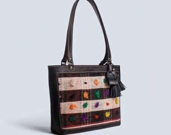 Hana Vintage Jajim-leather tote bag