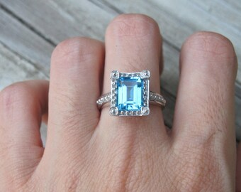 Blue Deco Engagement Ring- Emerald Engagement Ring- Rectangle Gemstone Engagement Ring- December Birthstone Ring- Solitaire Statement Ring