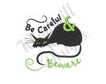 Halloween Black Cat - Machine Embroidery Design