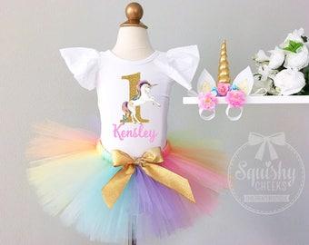 Unicorn 1st Birthday Girl Outfit Unicorn First Birthday Girl Clothing Rainbow Unicorn Birthday Baby Girl Clothes Unicorn Leotard 1st-3rd