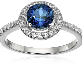 Ster Silver Blue Topaz, Created White Sapphire Engagement Ring, Size 7