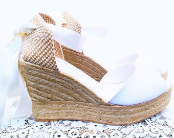 ANA Peep Toe Platform Wedge Lace Up Espadrille Boho style Wedding