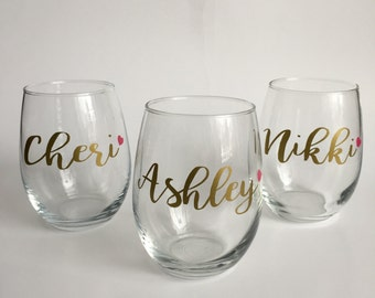 Personalized Name Stemless Wine Glass | Dishwasher Safe | Name Gift | Bridesmaid Gift | Wedding Favors| Bachelorette Favors
