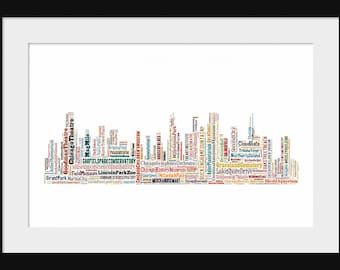 Chicago Skyline Word Art Typography Color  2 TypographicalPrint Poster