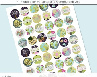 Love the Earth Go Green Recycle Digital Collage Sheet Circle 30mm 25mm 20mm Download Sheets for Glass Pendants Cuff Links Round