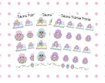 Fairies Tired Sick Allergies Flu Planner Stickers (C36 S36 L36)