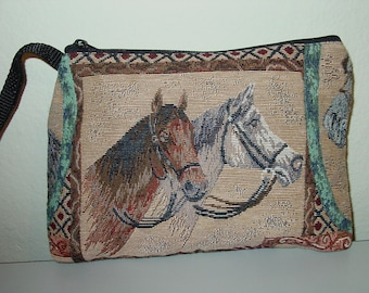 Horse Mare and Foal Tapestry Large Cosmetic  Clutch