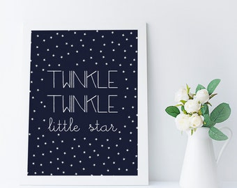 twinkle twinkle little star printable - nursery art print - new baby shower gift - baby room decor - kids room wall art quote - download