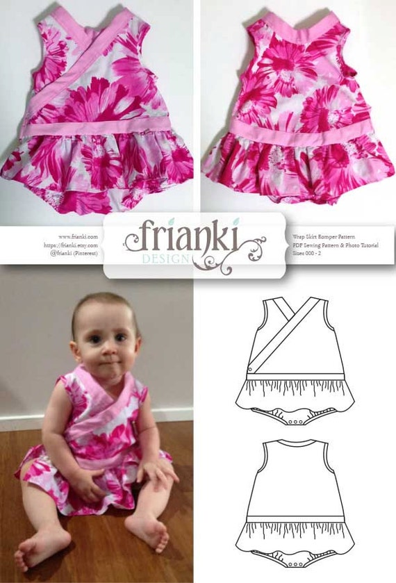 Baby Girl Wrap Skirt Romper PDF Sewing Pattern and Photo