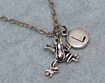 Silver Frog with Initial necklace, initial charm, frog charm, frog pendant, personalized jewelry