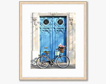 Paris Photograph -- Bright Blue Door with a Bicycle -- Travel Photography -- 8 X 10 Inch Print