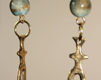 Brass Skinny Goddess with Earth Toned Ceramic Bead on French Hook Ear Wires -  Dangle Earrings