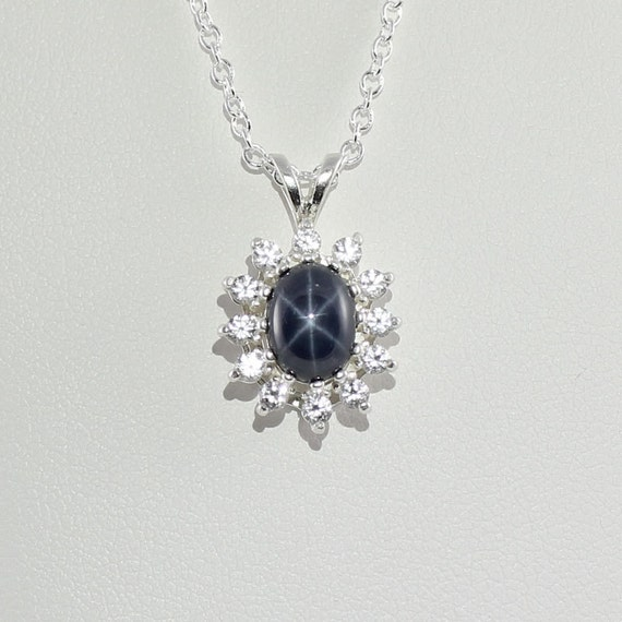 Genuine 6 ray blue star sapphire pendant necklace with white mozeypictures Choice Image