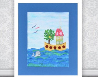 Art For Kids Paper Cutting Collage Picture, Whale & Houseboat , Original Wall Decor, Playroom Nursery Art, Sea Art, Art For Children