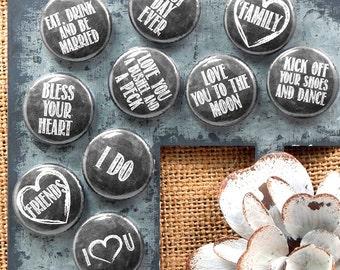 Wedding Favor Magnets, Chalkboard Wedding Magnets, Bridal Shower Favors, Small Magnets, Chalkboard Art - Set of 35