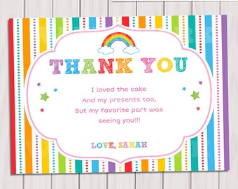 View thank you card note by thepartytown on etsy rainbow thank you card rainbow birthday note card printable diy rainbow party invitation bookmarktalkfo Image collections