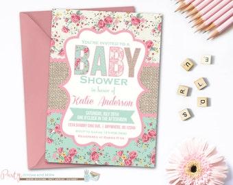 Baby Shower Invitation, Shabby Baby Shower Invitation, Rustic Baby Shower Invitation, Burlap Baby Shower Invitation, Country, Farm