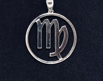 Zodiac, Virgo Astrological Sign Pendant in 925 Sterling Silver