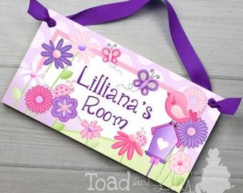 Garden Friends Purple Pink Flowers and Butterflies Girls Bedroom DOOR SIGN DS0409
