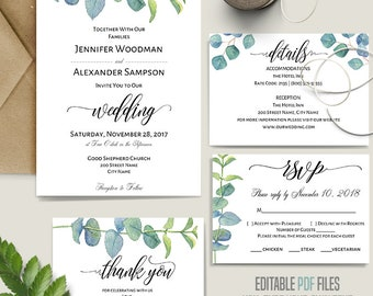 Wedding Suite, Printable wedding templates, greenery wedding, outdoor, country, Instant download self editable PDF A649