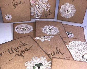 Handmade/ Rustic / THANK YOU/ Message Cards x 10 With Matching Envelopes
