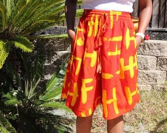 Orange Yellow Tribal Handpainted High Waist Shorts