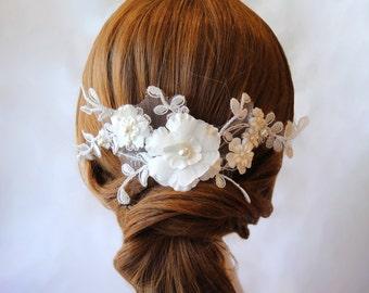 Lace Hair Comb, Wedding Hair Accessory, Flower & Pearl Headpiece, Romantic Wedding, Bridal, ALANA