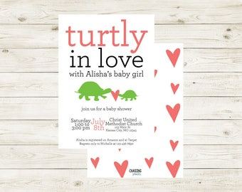 TURTLY BABY CRAZY | Turtle Baby Shower Invitation | Turtle Themed Baby Shower | Turtle Themed Baby Shower Invitation | Turtle Baby Shower