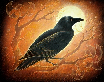 The Raven and the Moon - 8x10 Art Print - Oil Pastel Etching