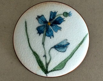 Early de Passille Sylvestre Enamel Brooch – Laurentian Flower Series Pin – 1960's Modernist Quebec Canada – Signed de P.S.