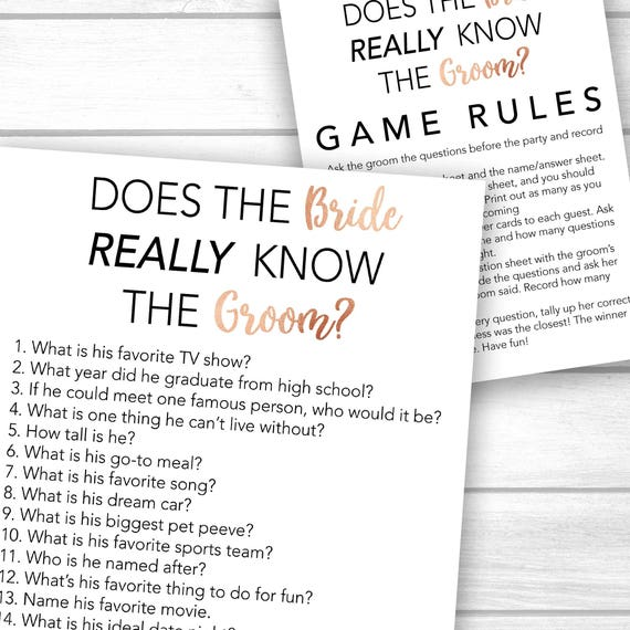 Bridal Shower Game Printable Bachelorette Party Game Printable