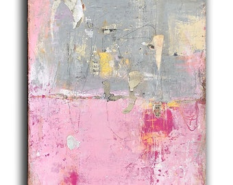 18x24 Canvas Mixed media Abstract Pink Gray Painting